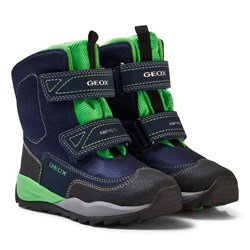 Geox Navy and Lime Branded High Orizont Snow Boots