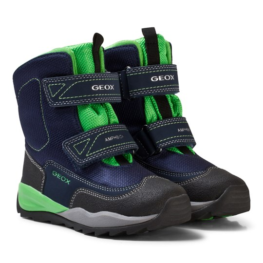 Geox Navy and Lime Branded High Orizont Snow Boots C4248