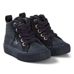 Victoria Zip-Up Faux Leather Sneakers Navy