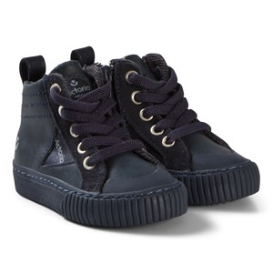 Image of Victoria Zip-Up Faux Leather Sneakers Navy 28 EU (3056092289)