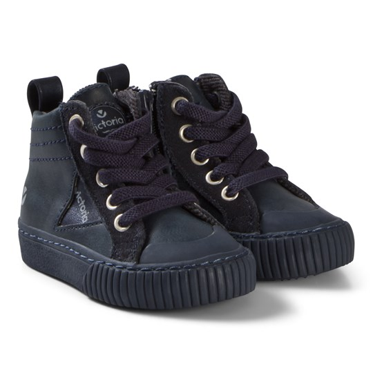 Victoria Zip-Up Faux Leather Sneakers Marinblå Navy