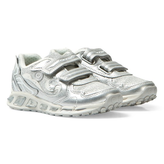 Geox Jr Shuttle Light Up Sneakers Silver & White C0434