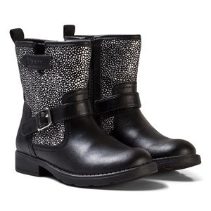 Image of Geox Black Jr Sofia Leather and Studded Boots 28 (UK 10) (2743726121)