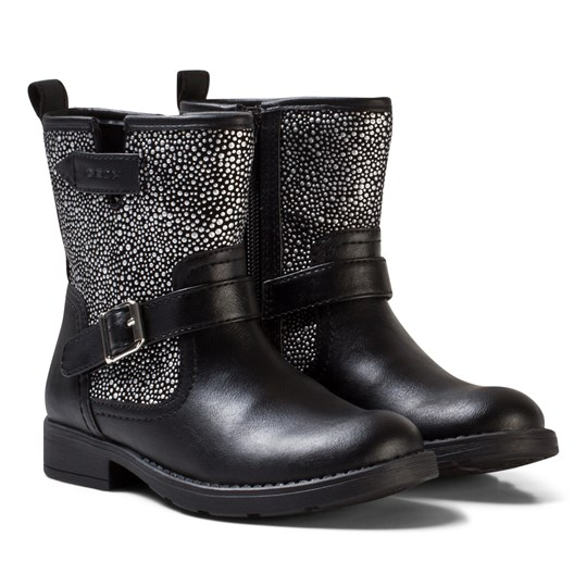 Geox Black Jr Sofia Leather and Studded Boots C0039