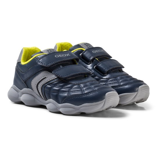 Geox Navy and Lime Junior Munfrey Velcro Trainers C0661