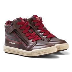 Geox Jr Arzach Nappa Leather Sneakers Brown