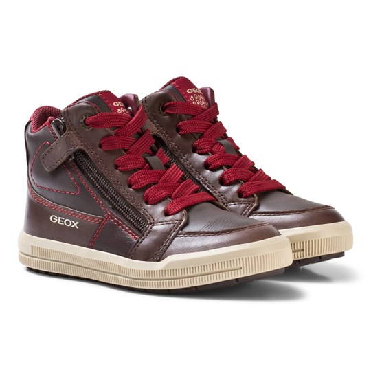Geox Jr Arzach Nappa Leather Sneakers Brown C0752