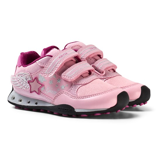 Geox New Jocker Jr Winged Velcro Sneakers in Pink C0799