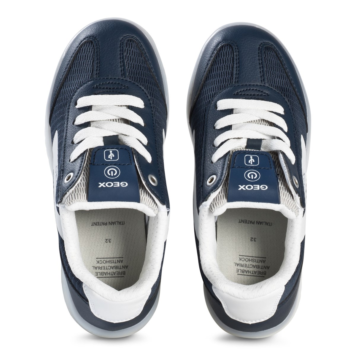 Geox Kommodor Light Up Trainers Navy and White Babyshop.dk
