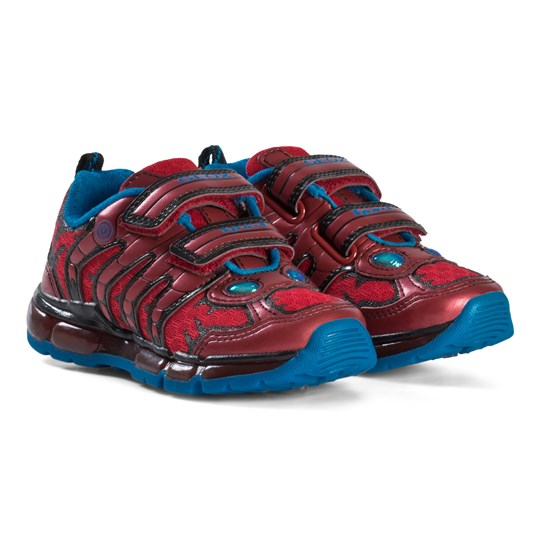 Geox Red Android Character Velcro Light Up Sneakers C7000