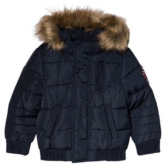 IKKS Navy Padded Puffer Coat with Faux Fur Hood 48