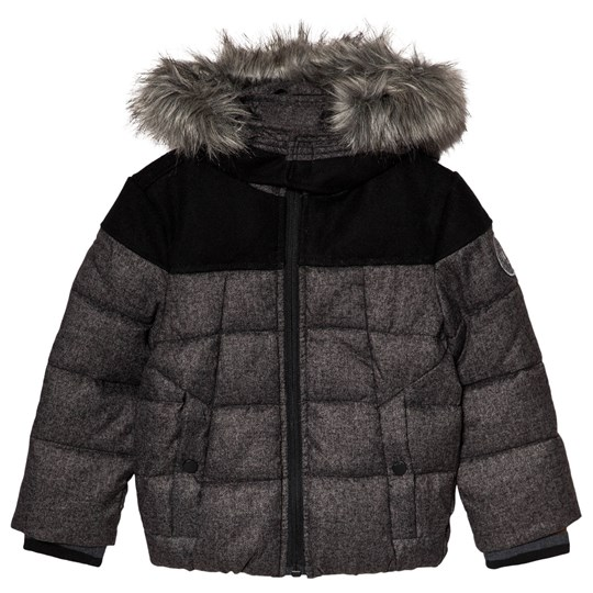 IKKS Grey Woven Panneled Padded Coat with Faux Fur Hood 28