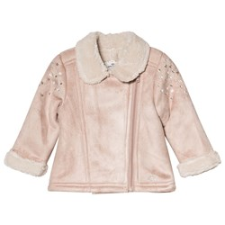 IKKS Pink Faux Shearling Jacket with Embroidered Detail