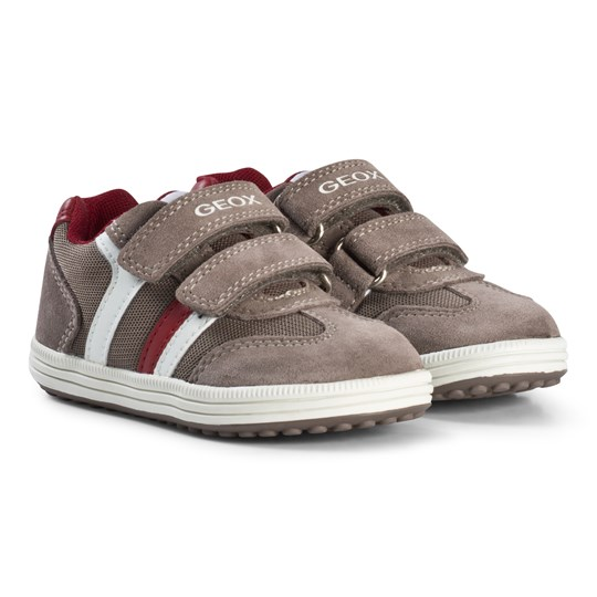 Geox Mink and Red Suede Vita Velcro Sneakers C5A6B
