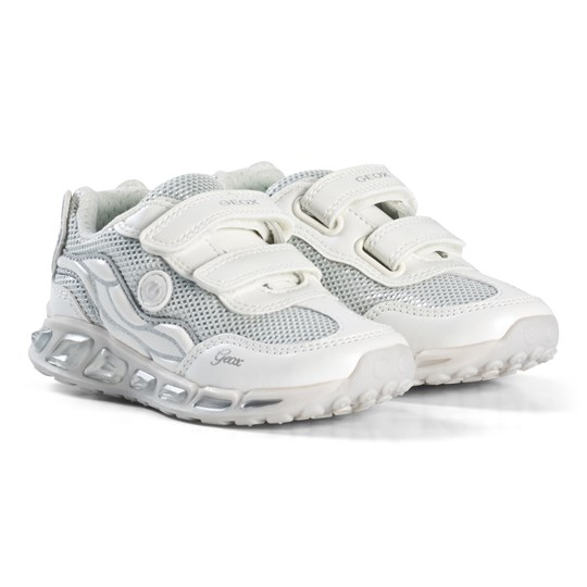 Geox White and Silver Shuttle Light Up Sneakers C0007