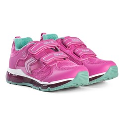 Geox Pink Android Velcro Light Up Sneakers
