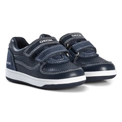 Geox Navy Leather Baby Flick Sneakers