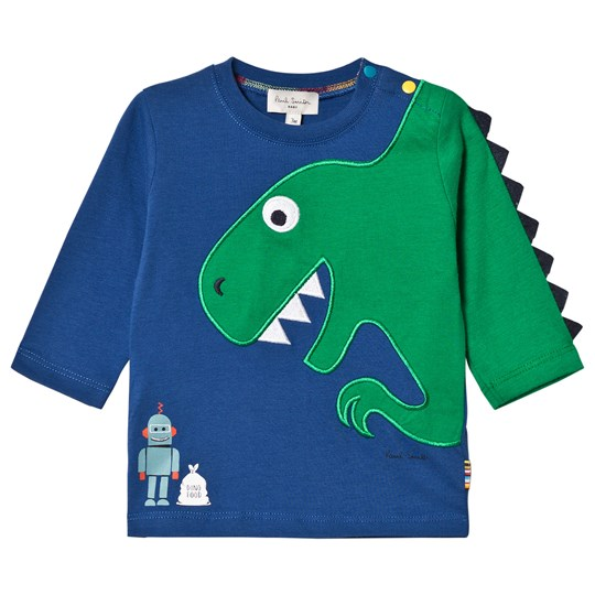 Paul Smith Junior Blue Dinosaur and Robot Detailed Long Sleeve Tee Blue