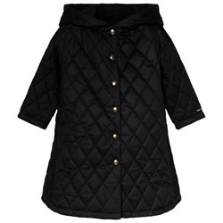 Little Creative Factory Black Flared Hooded Quilted Coat
