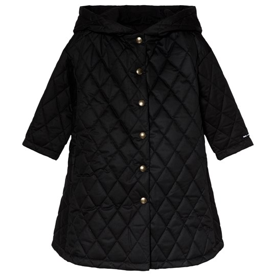 Little Creative Factory Black Flared Hooded Quilted Coat Black