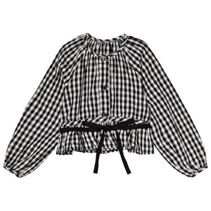 Image of Little Creative Factory Black and White Checked Blouse with Tie Detail 10 years (3056078293)