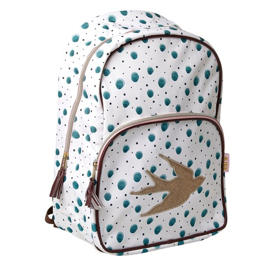 Rice Backpack with Watercolor Splash Print Soft Pink Piping vit grön prick