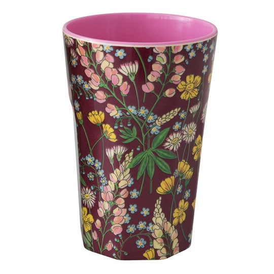 Rice Tall Melamine Latte Cup Lupin Bordeaux