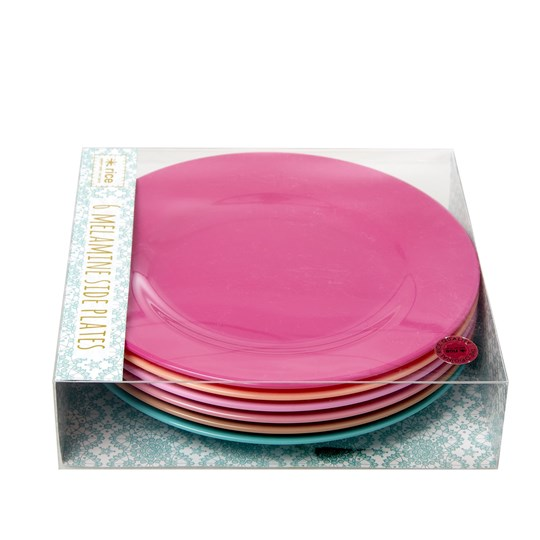 Rice 6-Pack Melamine Side Plates Life is Better in Color