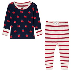Image of Hatley Navy and Red Smiling Apples Organic Pyjama Set 12-18 months (3056073375)
