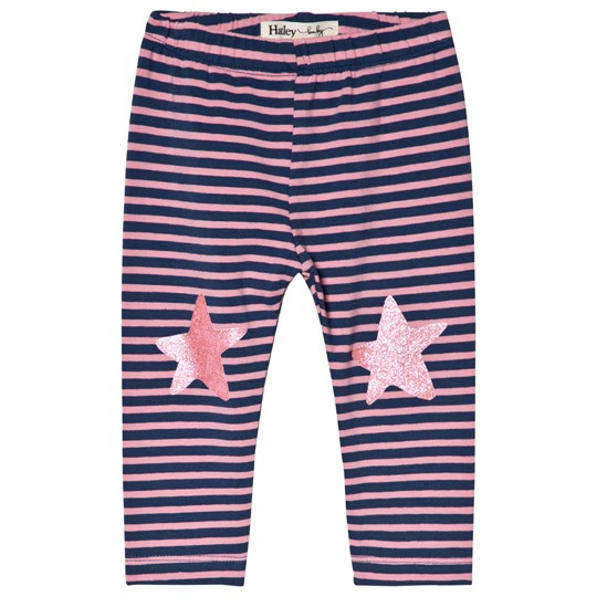 Hatley Navy Stripe Baby Leggings Purple and Pink