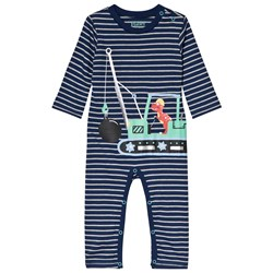 Hatley Dino Construction One-piece Marinblå