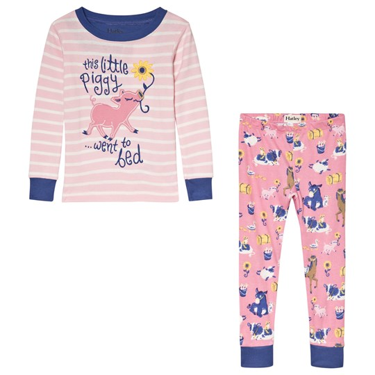 Hatley Pink Striped Little Piggy Organic Pyjama Set Pink