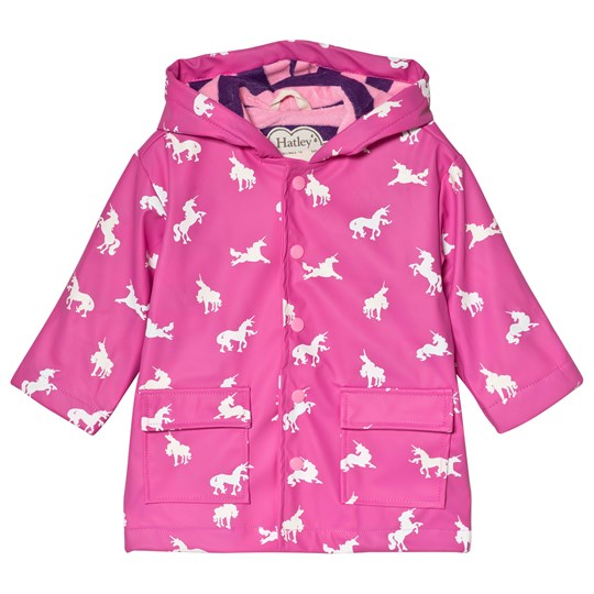 Hatley Pink Color Changing Unicorn Silhouettes Raincoat Pink