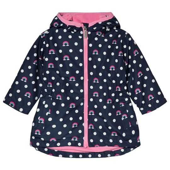 Hatley Navy Dots and Rainbows Microfiber Rain Jacket Navy