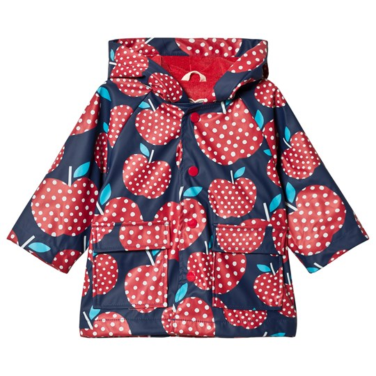 Hatley Navy with Red Polka Dot Apples Raincoat Navy