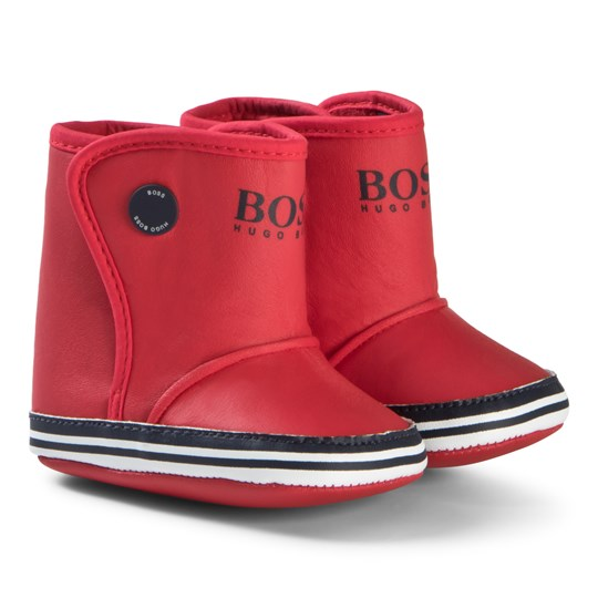 BOSS Red Branded Canvas Crib Booties 97S