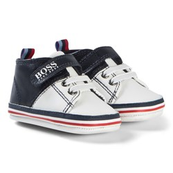 BOSS Navy and White Branded Velcro Crib Shoes
