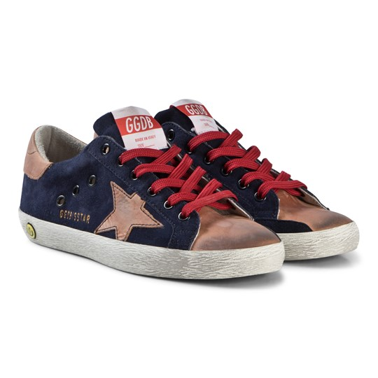 Golden Goose Navy Suede and Natural Star Superstar Trainers NAVY SUEDE-NATURAL STAR