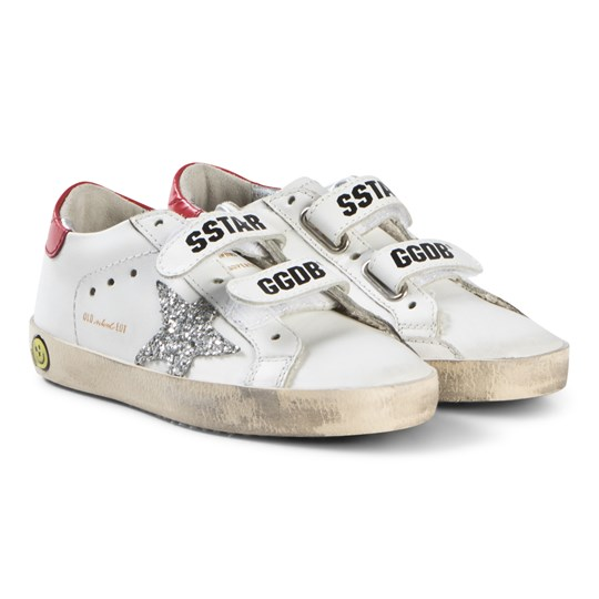 Golden Goose White Leather and Glitter Star Old School Velcro Sneakers WHITE LEATHER RED-GLITTER STAR