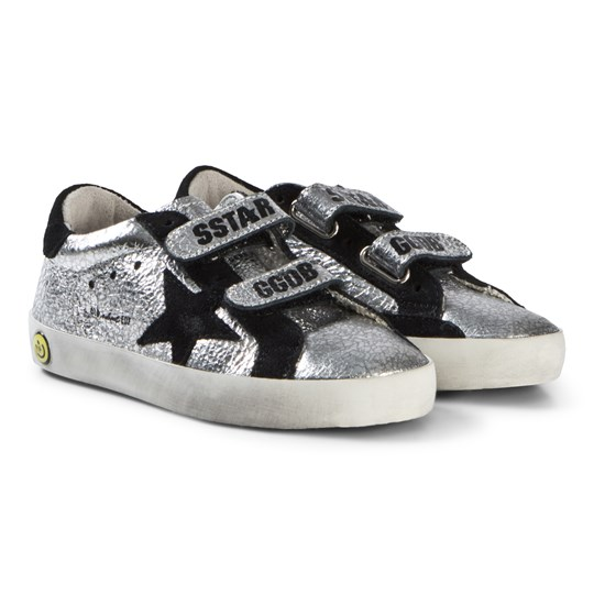 Golden Goose Silver Leather and Black Star Old School Velcro Trainers SILVER LEATHER AND BLACK STAR