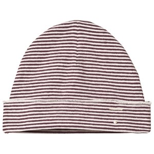 Image of Gray Label Baby Beanie Plum/Cream Stripe 0-6 mdr (3056067783)