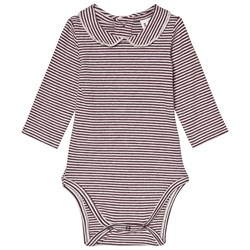 Gray Label Collared Baby Body Plum/Cream Stripe