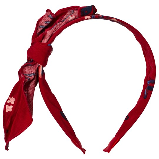 Carrément Beau Red Leaf Print Bow Headband Z41