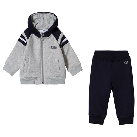 BOSS Grey and Navy Branded Tracksuit 849