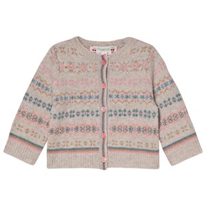 Image of Bonpoint Beige and Pink Jacquard Cardigan 12 months (3065541609)