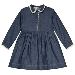 Bonpoint Blue Denim Shirt Dress with Lace Detail