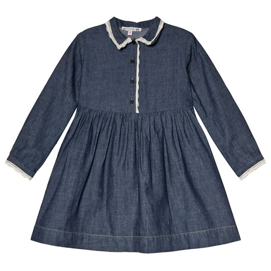 Bonpoint Blue Denim Shirt Dress with Lace Detail 078A