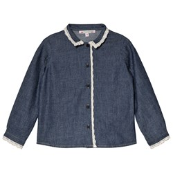 Bonpoint Blue Denim Shirt with Lace Detail
