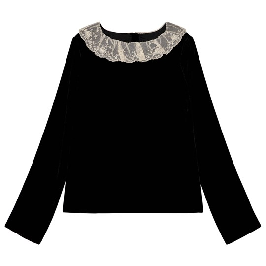 Bonpoint Black Velvet Lace Collar Blouse 099