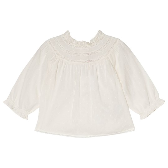 Bonpoint Cream Dobby and Lace Blouse 003